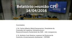 Relatórios das reuniões da CPI da Compensação Ambiental